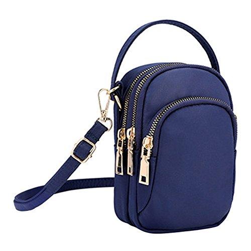 Wallet Zipper Nylon 3 Cell Shoulder Handbag Bag Purse for Layer Eilova Phone Crossbody Blue Women Dark 4zYnxxv