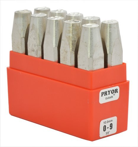 PRYOR GOLIATH PHD10060 0-9 Heavy Duty Sharp Faced Hand Stamps, 10 Piece, 1/4