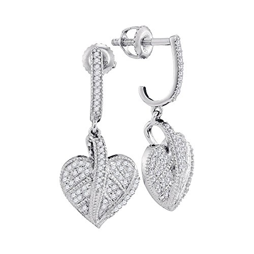 Roy Rose Jewelry 10K White Gold Ladies Diamond Milgrain Heart Dangle Screwback Earrings 1/3 Carat tw - Milgrain Dangle