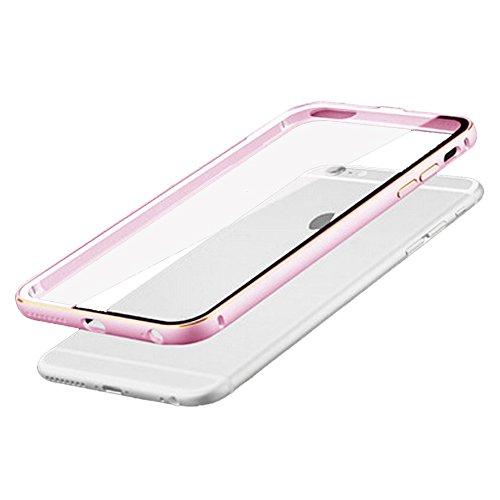 "Metall Abdeckung - TOOGOO(R)Ultraduenne Aluminium Metall Huelle fuer iPhone 6 4.7"" Rosa + Transparent"