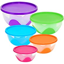Southern Homewares Nested & Stackable Bowl / Food Storage Containers, 5 Piece Silicone/Plastic Multi-Purpose Set