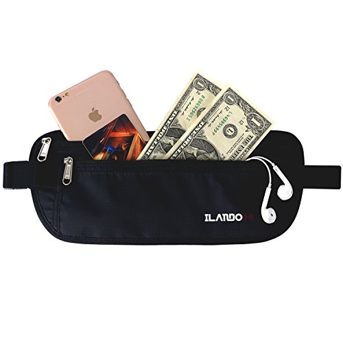 ILANDO Deluxe RFID Blocking Travel Money Belt for Men and Women Black