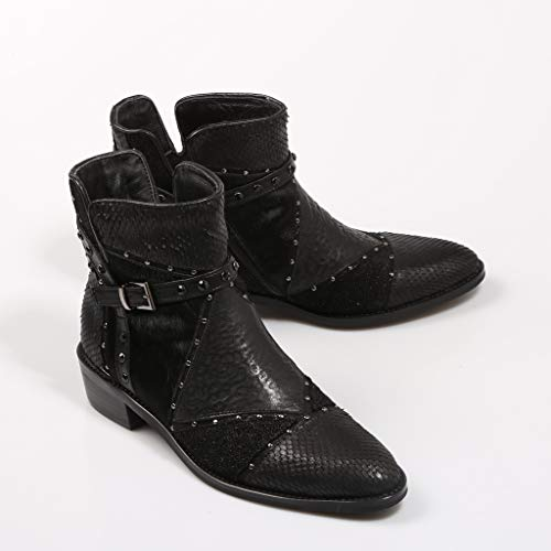 Ankle Ankle Pena Woman Alma Black for en Boot Boot Boot Leather Patchwork 5n7Xqw