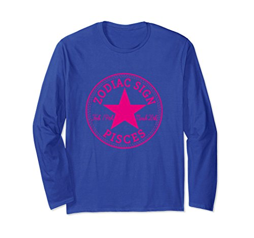 Unisex ZODIAC SIGN PISCES Horoscope Astrology Long Sleeve T-Shirt Small Royal Blue