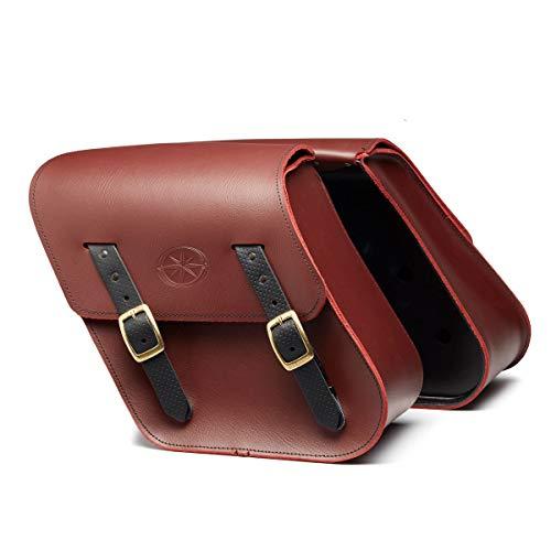 (Genuine Yamaha Accessories 14-18 Yamaha Bolt Rigid-Mount Leather Saddlebags (Oxblood))