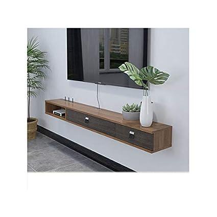 Lrzs Salon Minimaliste Moderne Suspendu Meuble Tv Ultra Mince En Bois Massif étagère Simple Chambre Pendaison Support Mural Ultra étroit Couleur