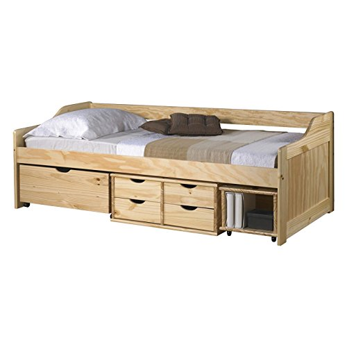 Funktionsbett SOFIA 90x200 cm Funktionsliege Jugendbett mit Schubladen Kiefer massiv natur inkl. Lattenrost