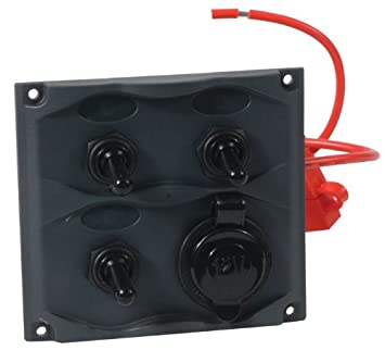 MARINE 3-GANG SWITCH PANEL WATER RESISTANT 20A SWITCH W//15A FUSE