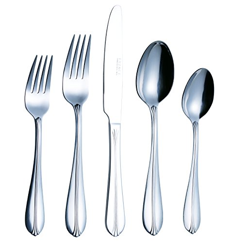 EXZACT Stainless Steel Flatware 20PCS Set, Unique Embossment Shell Design, Mirror Polish, Anti Scratch - 4 x Dinner Knives, 4 x Dinner Forks, 4 x Table Spoons, 4 x Tea Spoons, 4 x Salad Forks (WF931)