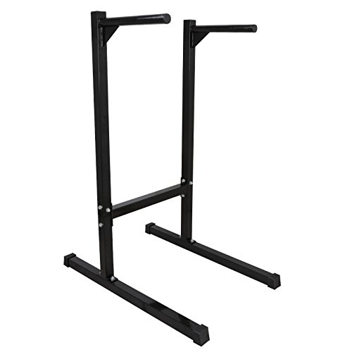 Black Steel Dipping Station Pull Up Stand Compact Dip Bar Capacity 440 Lbs by FDInspiration