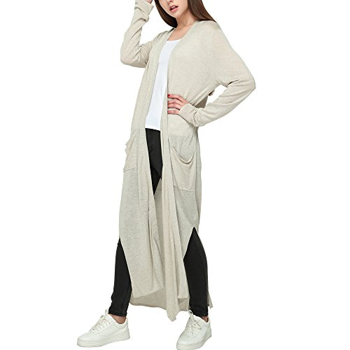 Womens Drapey Light Weight Open Front Linen Long Cardigan With Pockets