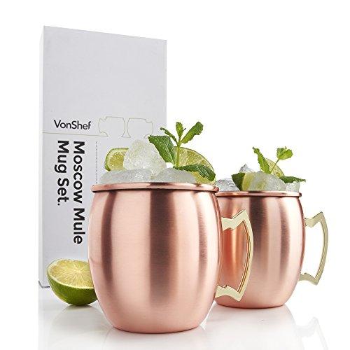 VonShef Set of 2 Barrel Style Moscow Mule Mugs - Copper - Smooth (4 Inch Mug)
