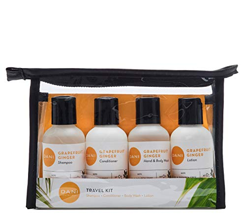 DANI Naturals Travel Size Toiletries Kit - Shampoo, Conditioner, Hand and Body Wash and Lotion - Grapefruit Ginger Scented, Vegan & Cruelty Free