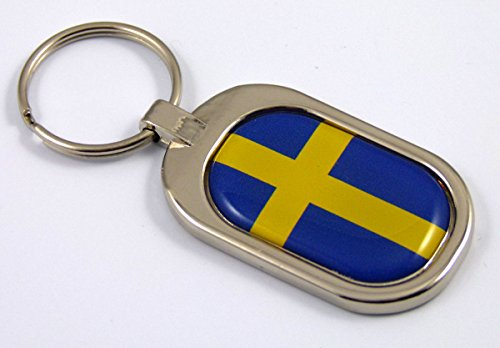 Chrome Metal Keychain Ring Key (Sweden Flag Key Chain Metal Chrome Plated Keychain Key fob keyfob Swedish)