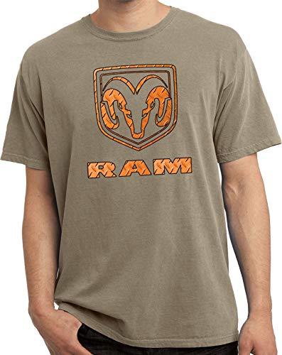 Dodge Ram Diamond Plate Logo Pigment Dyed Shirt, Taupe Medium