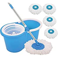 TradeVast® Plastic 360 Degree Spinning PVC Mop with Bucket and 4 Rotating Heads