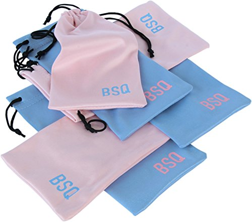Microfiber Pouch 4 x 7.75 Inch (6 Pack) - Soft Cloth Storage Bag(s) for Eyeglasses, Sunglasses, Oakley Glasses, Jewelry, Electronic Gadgets, Mobile Cell Phone (iPhone, Samsung) - Pink & Light - Facts Sunglasses