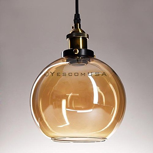7.9'' Vintage Industrial Classic Amber Glass Pendant Light Ball Shade For Kitchen Living Room Home Restaurant Spa Hotel Coffee Shop Bar by Generic (Image #3)