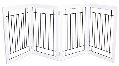 Internet's Best Traditional Wire Dog Gate | 4 Panel | 30 Inch Tall Pet Puppy Safety Fence | Fully Assembled | Durable Wooden | Folding Z Shape Indoor Doorway Hall Stairs Free Standing | White