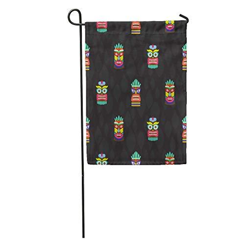 zhurunshangmaoGYS Garden Flag Pole Colorful Tiki Masks Totems Dark Pattern Hawaiian Culture Bright Home Yard House Decor Barnner Outdoor Stand 12x18 Inches Flag