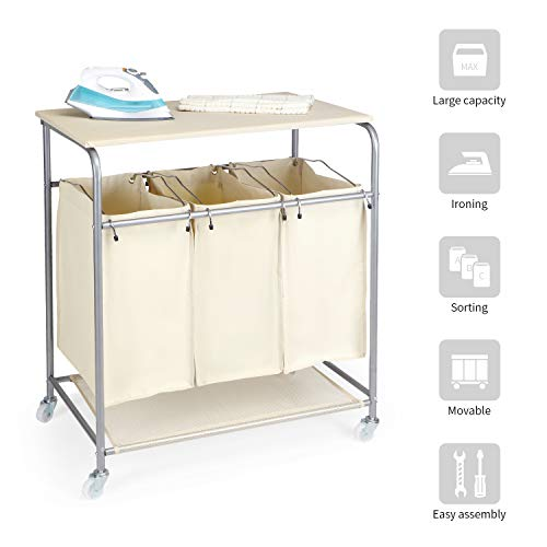 NOVA FURNITURE Laundry Hamper, Heavy Duty 3 Bags Rolling Laundry Sorter with Ironing Board and Folding Station, Beige