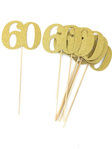 (Set of 8 Number 60 Centerpiece Sticks for Anniversary Reunion 60th Birthday)