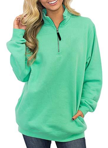 Diukia Women's Long Sleeves Collar Quarter 1/4 Zip Solid Hoodies Fleece Pullover Sweatshirts with Pockets(S-2XL) Mint Green
