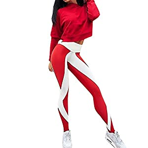 iLUGU Womens Striped Workout High Waisted Leggings Fitness Sports Gym Running Yoga Pants Yoga Work Out Athletic Red