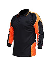 Hi Vis Polo Shirt Arm Panel With Piping Fluoro Work wear Cool Dry Long Sleeve