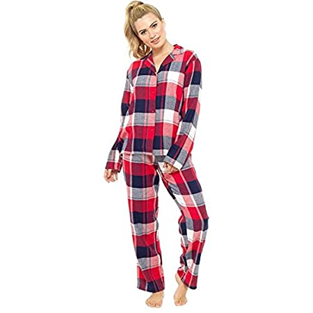 1c53b6c11 Foxbury Women's Checked Flannel 100% Brushed Cotton Pyjama Set, Navy Blue/ Red, Size UK 16-18: Amazon.co.uk: Kitchen & Home