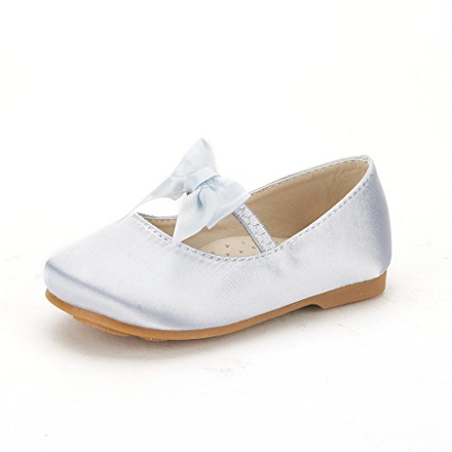DREAM PAIRS SOPHIA-22 Adorables Mary Jane Front Bow Elastic Strap Ballerina Flat New Silver Big Kid Size 4