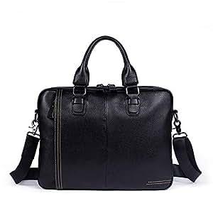YXHM AU Men's Genuine Leather Bag Briefcase Cowhide Handbag Shoulder Bag Messenger Bag (Color : Black)