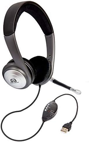 Softphone-Konversation Online-Unterricht Skype usw. USB-Headset mit Mikrofonrauschunterdr/ückung und Audiosteuerung leichtem Business-Kopfh/örer mit Kabelcomputer USB-PC-Kopfh/örer f/ür Spiele