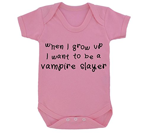 [When I Grow Up...A Vampire Slayer Baby Bodysuit Pink with Black Print] (Vampire Suit)