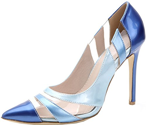 Abby Womens Sexy Wedding Party Dress Casual Bride Shallow Mouth Pointed Toe Slip On Stiletto Pumps Blue nUM39