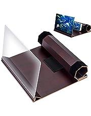 3D-scherm Smartphone versterker, 12 inch opvouwbare Smart Phone Screen Amplifier Vergroter, HD Stereoscopische scherm versterker, met houtnerf Stand houder, voor films, video's, gaming en alle slimme telefoons