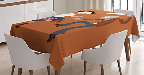 Country Tablecloth Linen Decor Table Cover for Kitchen Dinning Room Rectangle Oblong Tablecloths 60 W X 84 L Inch, Senior Old Couple with Western Costumes Dancing Partying Square Dance Contradance]()