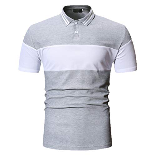(POQOQ T Shirts Polo Tops Blouse Mens Polyester Muscle Slim Fitted Sport Henley T-Shirt with Button Men's Short Sleeve Performance Polo S)