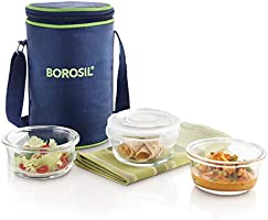 Borosil Klip-N-Store Glass Lunch Box Set, 3-Pieces, 240 ml, Blue
