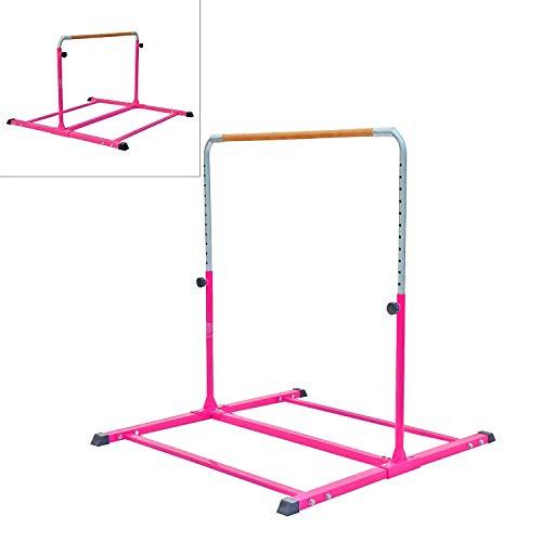 Modern-Depo Adjustable Junior Kip Bar 3'- 5' Gymnastics Horizontal Bar for Kids Home Training, Beech Wood Crossbar, Pink by Modern-Depo (Image #4)