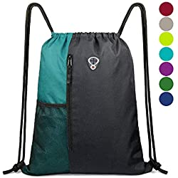 Drawstring Backpack Sports Gym Bag for Women Men Children Large Size with Zipper and Water Bottle Mesh Pockets (Black/Teal)