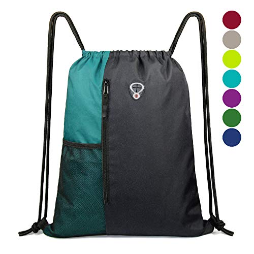 Drawstring Backpack Sports Gym Bag for Women Men Children Large Size with Zipper and Water Bottle Mesh Pockets (Black/Teal)