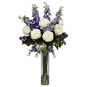 Nearly Natural Rose, Delphinium and Lilac Silk Flower Arrangement 13
