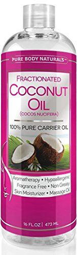 Pure Body Naturals Fractionated Coconut Oil for Skin, Hair, and Carrier for Essential Oils - 16 Fl. Ounce 100% African Essential Oil