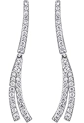 Platinum Plated Sterling Silver Linear Cubic Zirconia Dangle Earrings
