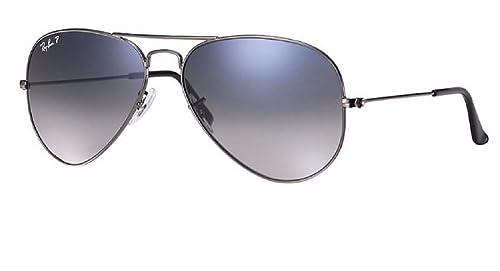 Ray-Ban RB3025 Aviator Polarized Sunglasses Gunmetal w/Blue/Grey Gradient (004/78) RB 3025 58mm