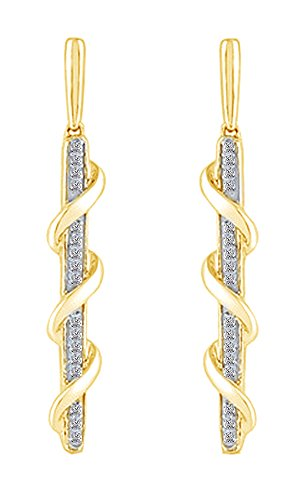 White Natural Diamond Swirl Overlay Stick Drop Earrings In 10k Solid Yellow Gold (1/10 Cttw) ()
