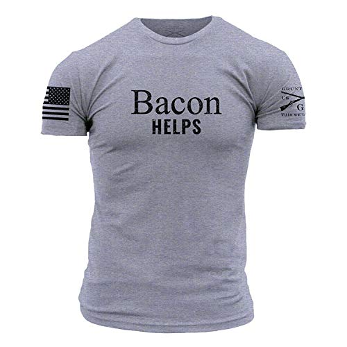 Grunt Style Bacon Helps Men's T-Shirt, Color Heather Grey, Size Medium ()