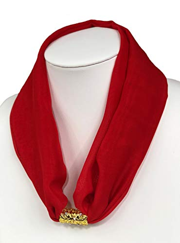 Chiffon Necklace Sash Scarf with Gold Engraved Magnetic Clasp Classic Style for Women (red-23in) (Scarf Pendant Red Women)