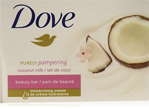 (Pack-M OF 12 BARS) Dove Beauty Soap Bar: COCONUT MILK. Protects Your Skin's Natural Moisture. 25% MOISTURIZING LOTION & CREAM! Great for Hands, Face & Body! (12 Bars, 3.5oz Each Bar) -